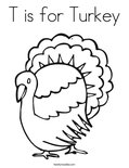 T is for TurkeyColoring Page