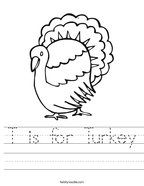 T is for Turkey Handwriting Sheet