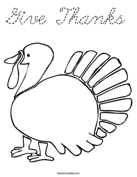 Give Thanks Turkey Coloring Page