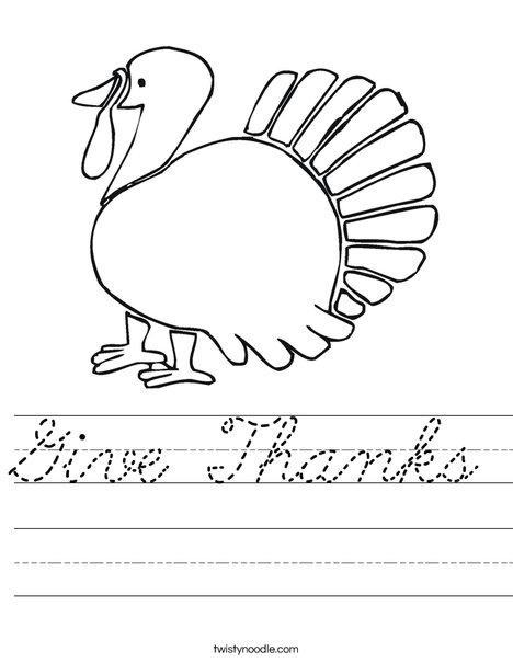 Give Thanks Turkey Worksheet