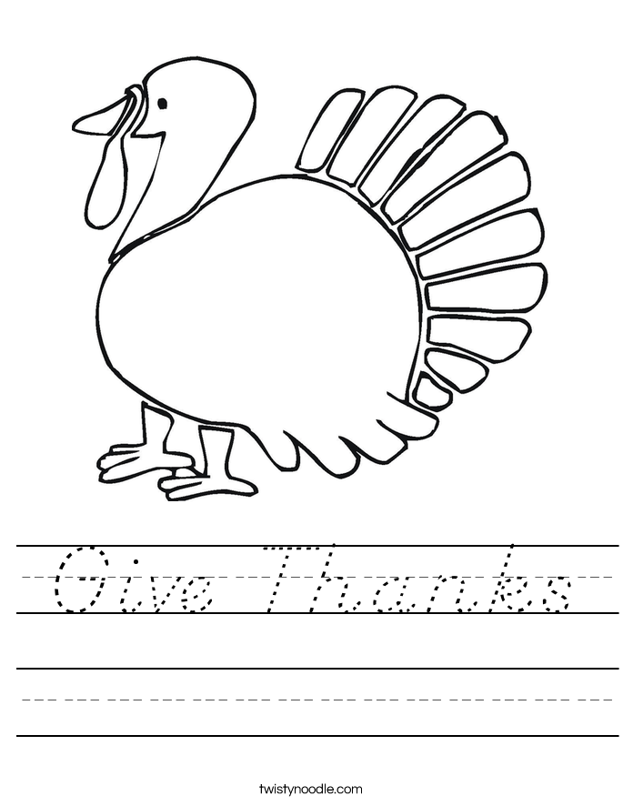 Give Thanks Worksheet