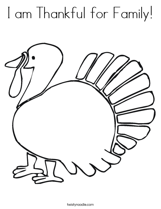 I am Thankful for Family! Coloring Page