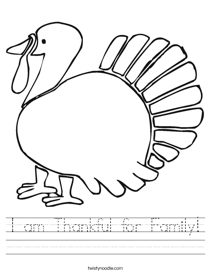 I am Thankful for Family! Worksheet