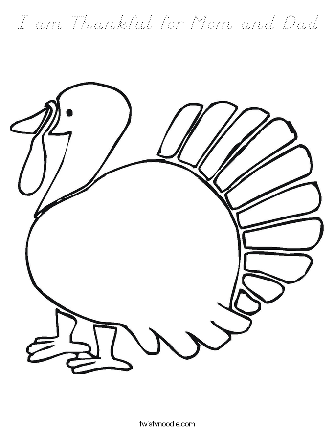 I am Thankful for Mom and Dad Coloring Page