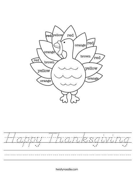 Turkey Colors Worksheet