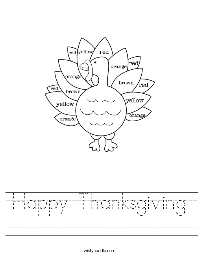 Happy Thanksgiving Worksheet - Twisty Noodle