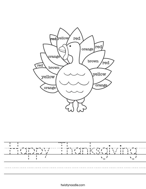 Thanksgiving Coloring Worksheet : Happy thanksgiving worksheet twisty noodle