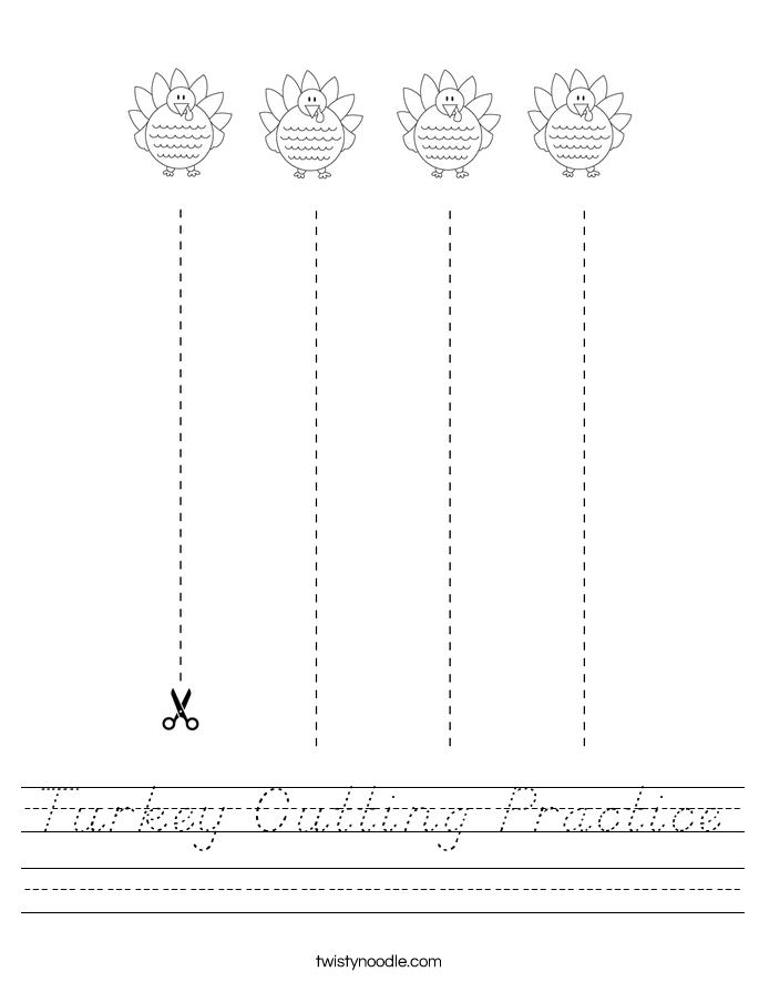 Turkey Cutting Practice Worksheet