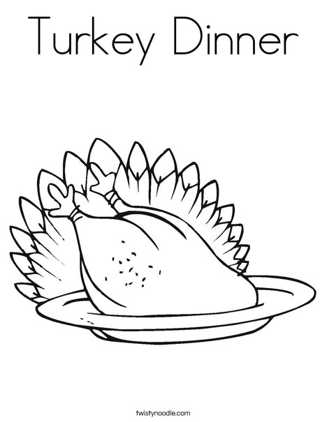 Turkey Dinner Coloring Page Twisty Noodle