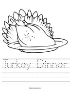 Turkey Dinner Handwriting Sheet