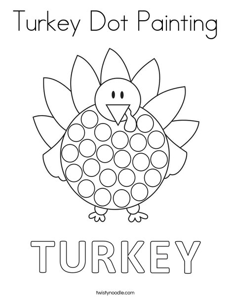 Turkey Dot Painting Coloring Page