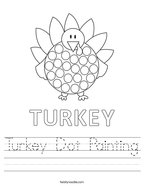 Turkey Dot Painting Handwriting Sheet