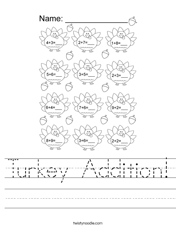 Turkey Addition! Worksheet