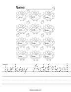 Turkey Addition Handwriting Sheet