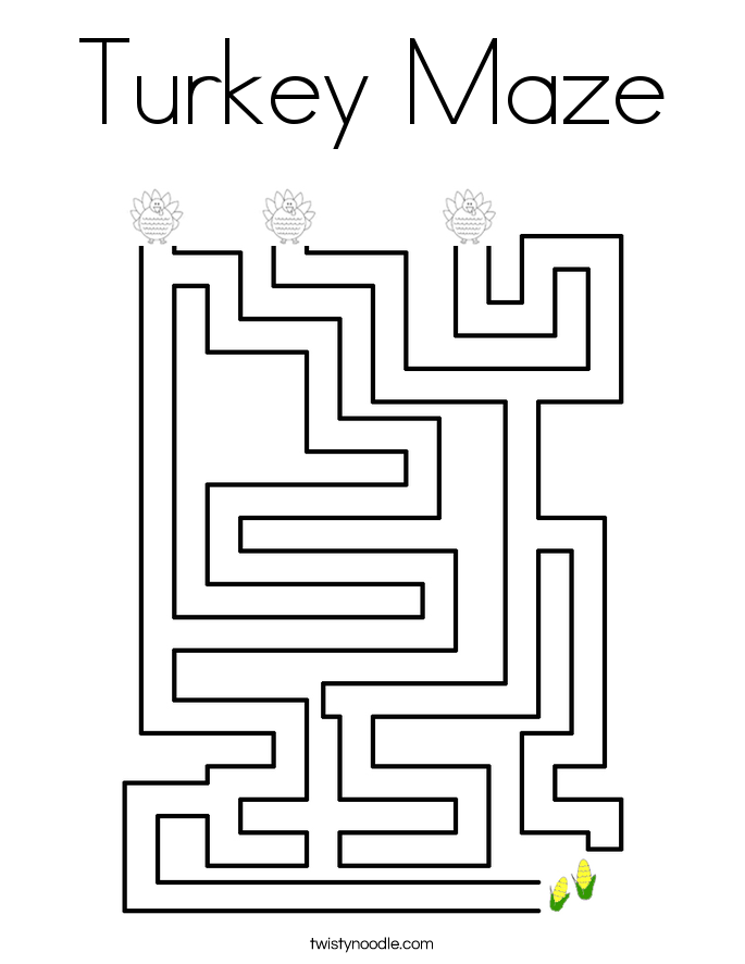 Turkey Maze Coloring Page