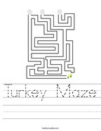 Turkey Maze Handwriting Sheet