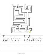 Turkey Maze Handwriting Sheet