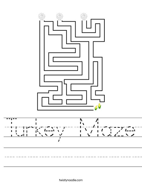 Turkey Maze Worksheet
