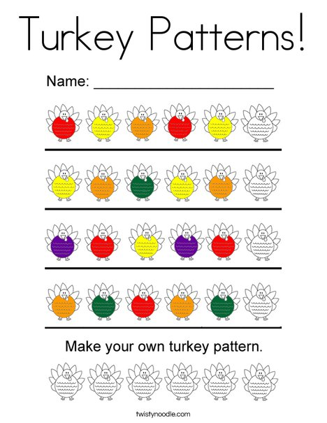 Turkey Pattersn Coloring Page