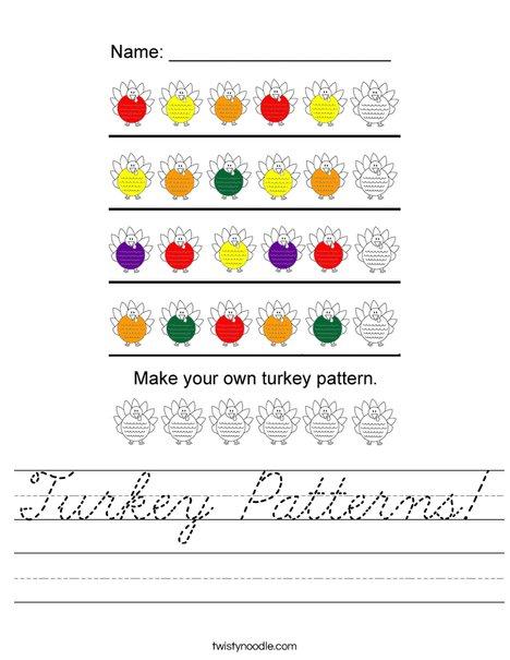 Turkey Pattersn Worksheet