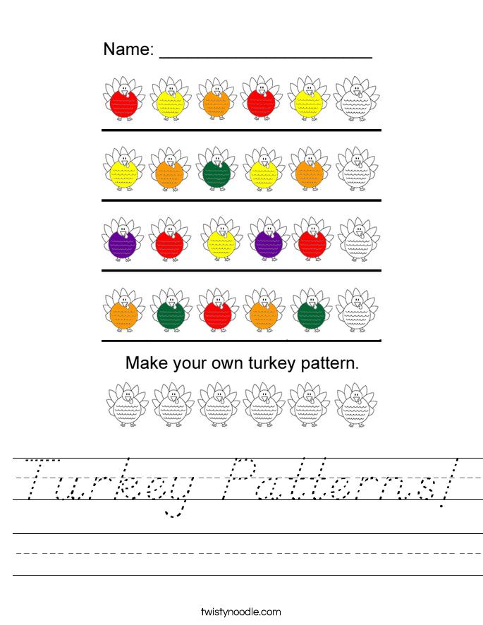 Turkey Patterns! Worksheet