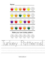 Turkey Patterns Handwriting Sheet