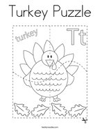 Turkey Puzzle Coloring Page