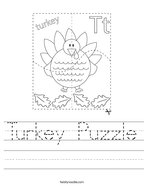Turkey Puzzle Handwriting Sheet