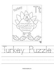 Turkey Puzzle Handwriting Sheet