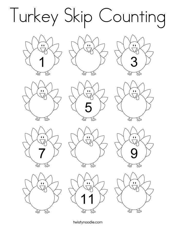 Turkey Skip Counting Coloring Page