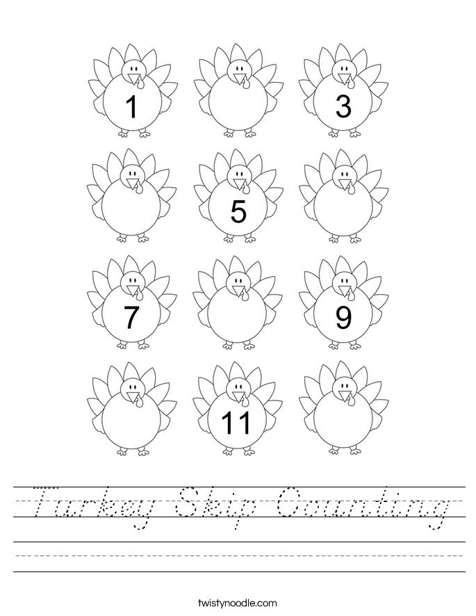 Turkey Skip Counting Worksheet - D'Nealian - Twisty Noodle