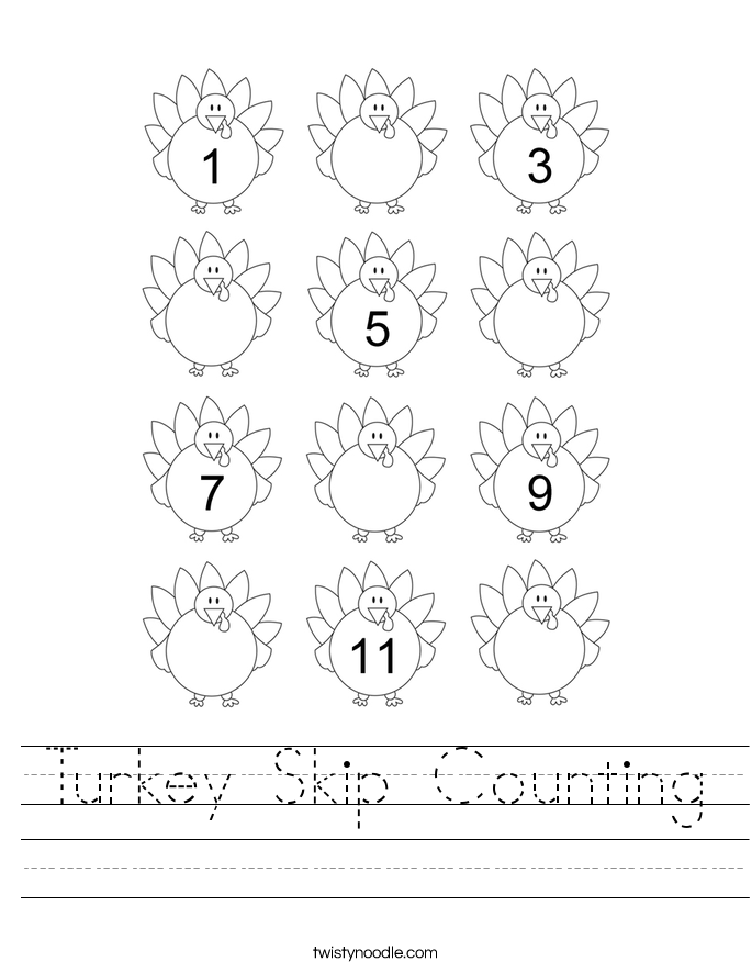 Turkey Skip Counting Worksheet