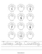 Turkey Skip Counting Handwriting Sheet