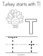 Turkey starts with T Coloring Page