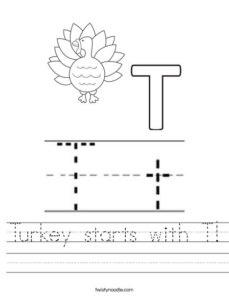 Turkey starts with T! Worksheet