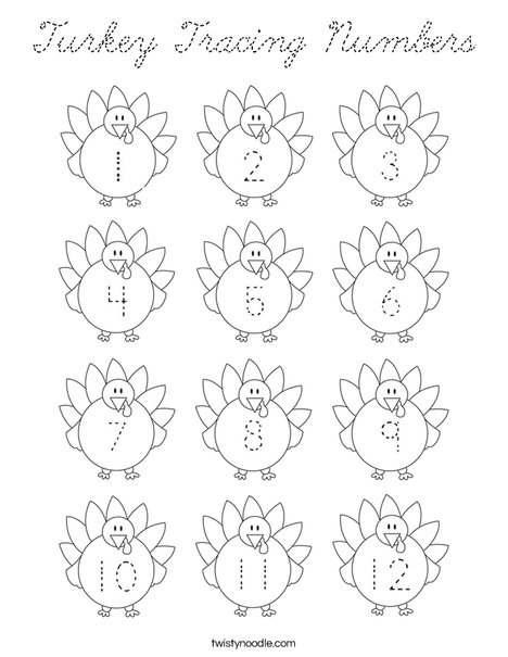 Turkey Tracing Numbers Coloring Page