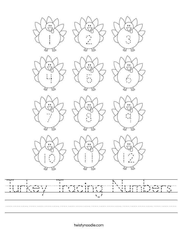 Turkey Tracing Numbers Worksheet