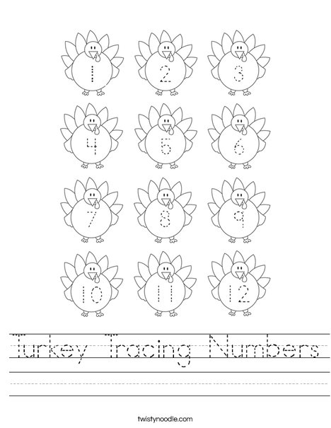 Turkey Tracing Numbers Worksheet