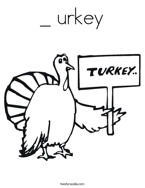 Turkey with Sign Coloring Page