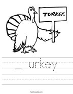 _ urkey Handwriting Sheet