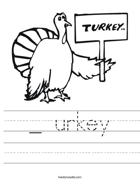 Turkey with Sign Worksheet