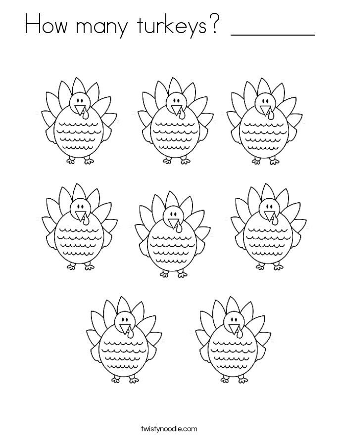 How many turkeys? _______ Coloring Page