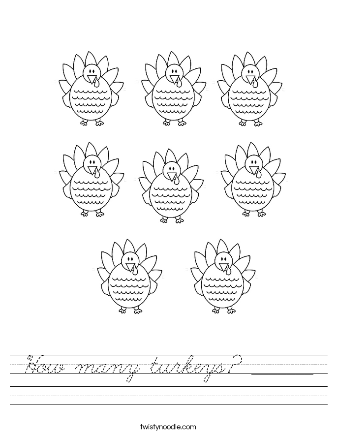 How many turkeys? _______ Worksheet