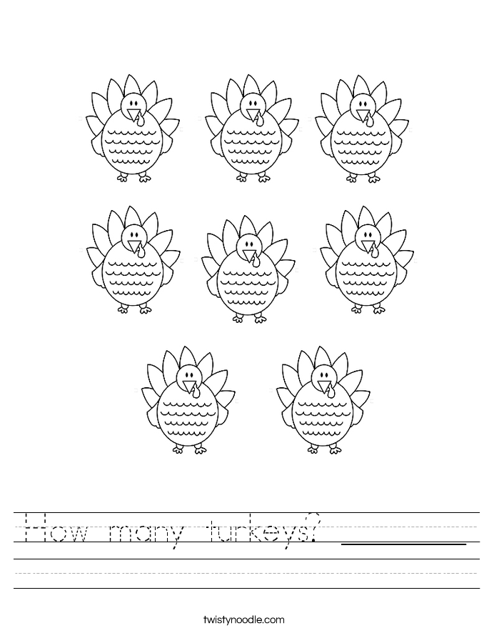 How Many Turkeys Worksheet Twisty Noodle