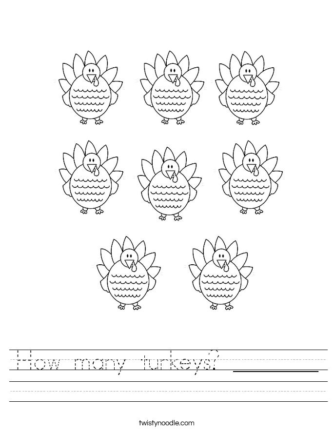 How many turkeys? _______ Worksheet