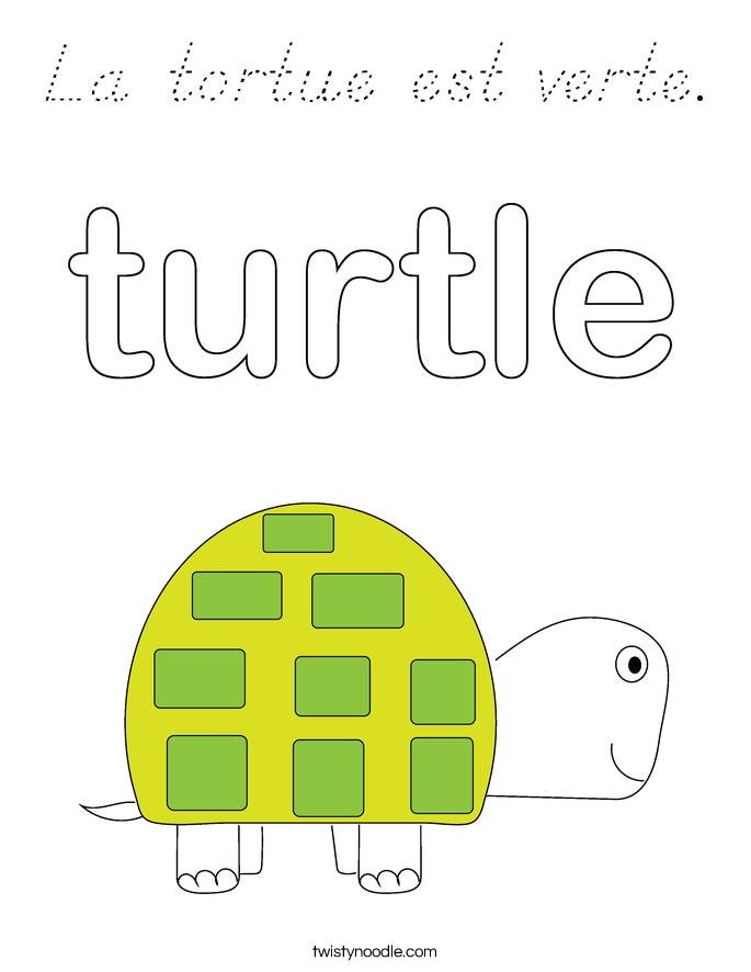 La tortue est verte. Coloring Page