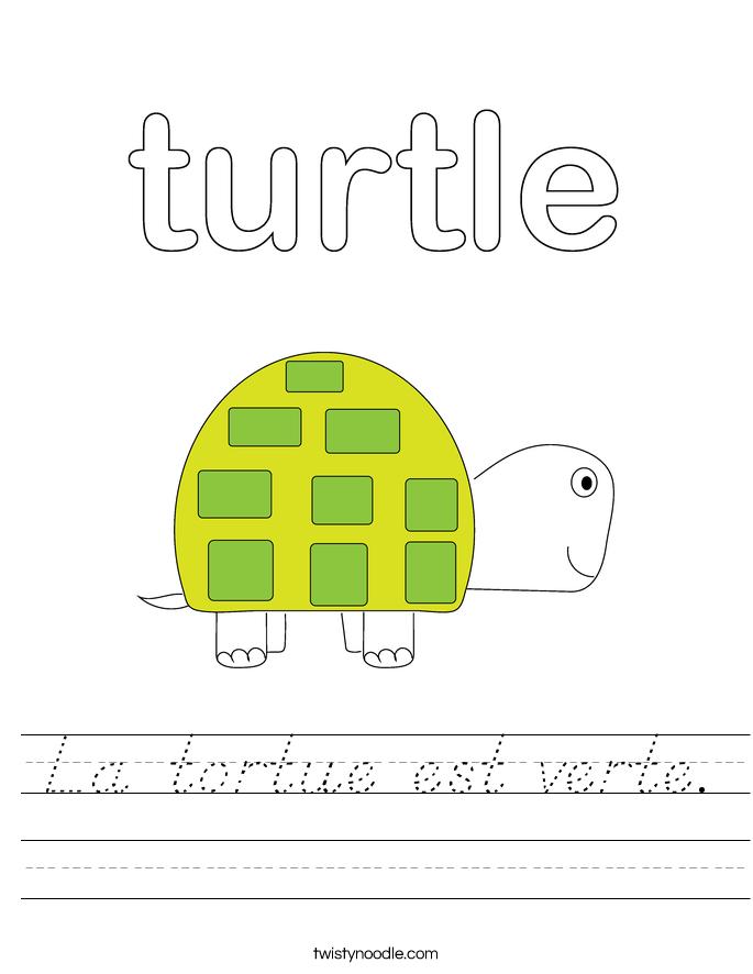 La tortue est verte. Worksheet