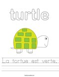 La tortue est verte. Worksheet