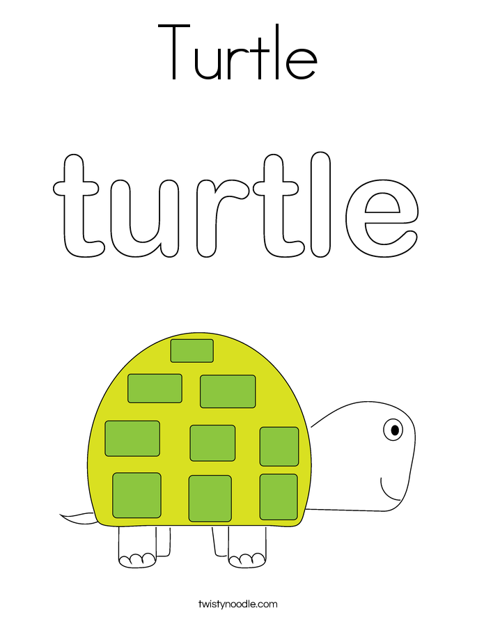 T is for Turtle Coloring Page  Twisty Noodle
