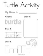 Turtle Activity Coloring Page
